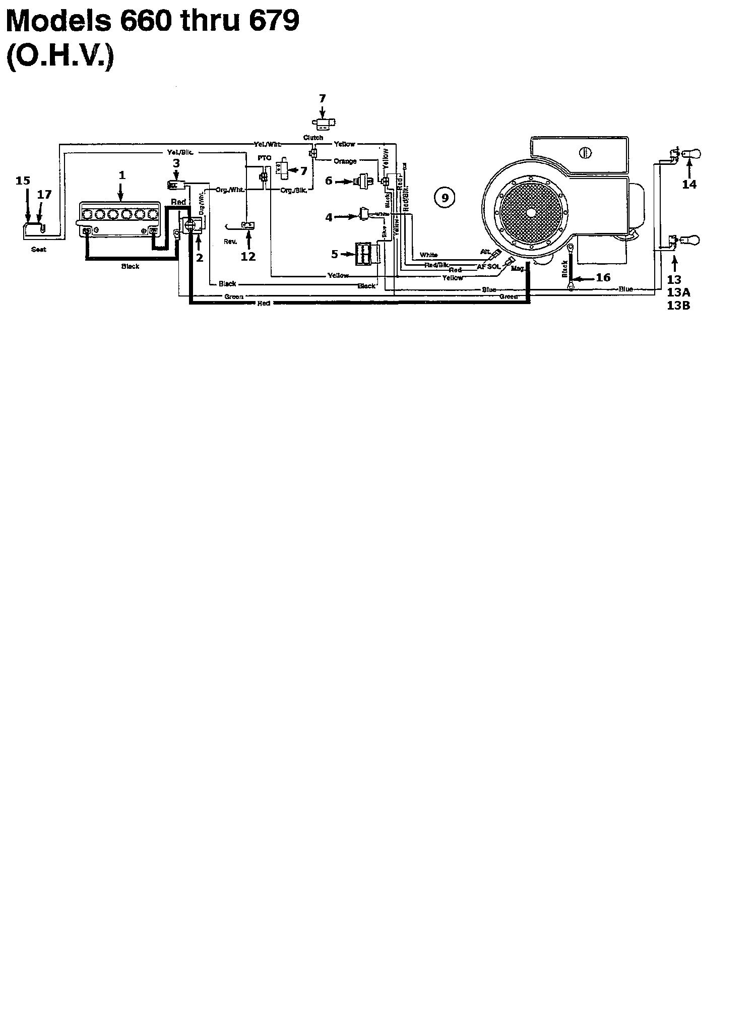 MTD 12.5/76 Schaltplan für O.H.V. 134K675C678 (1994)