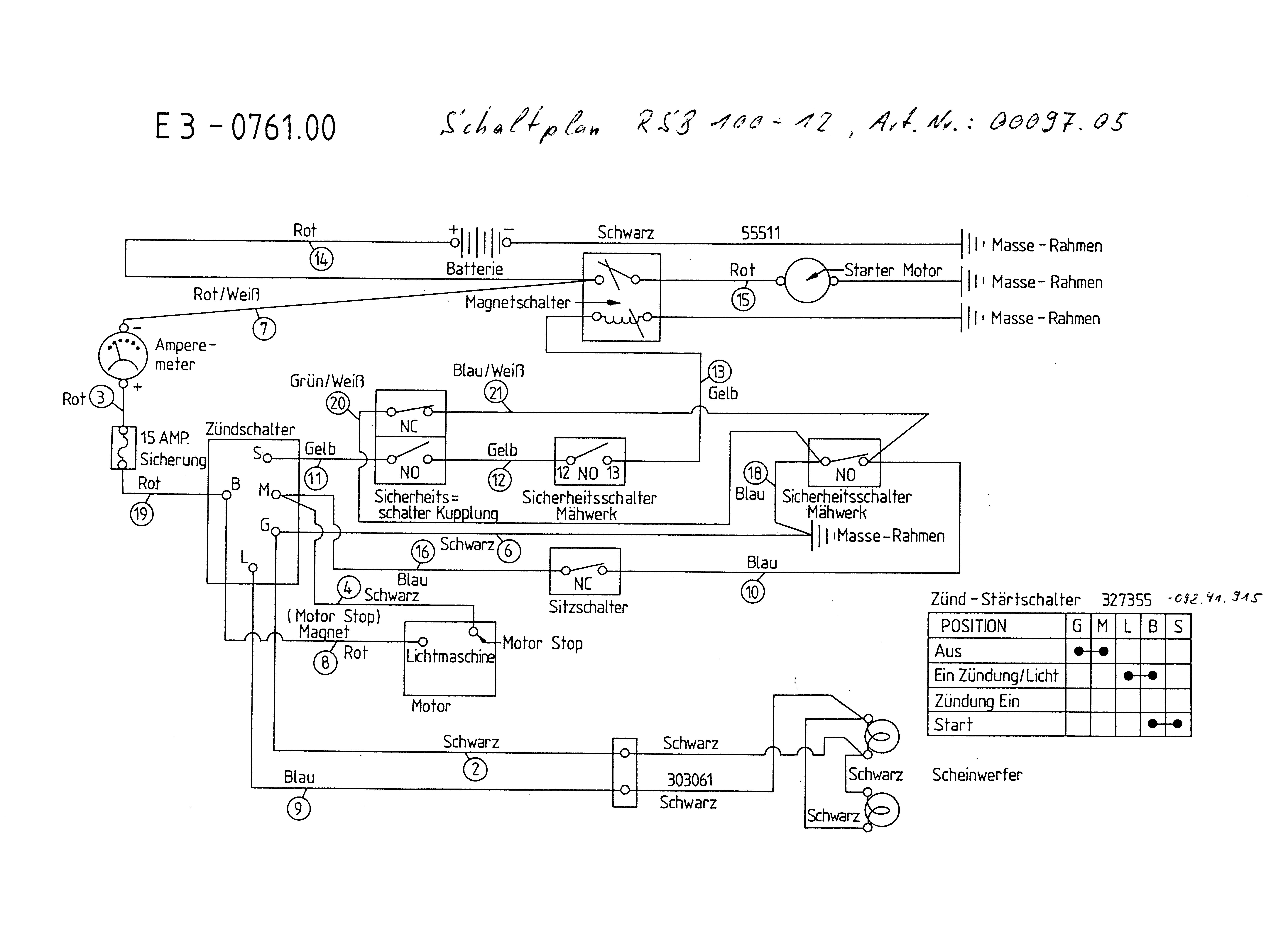 Gutbrod RSB 100-12 Schaltplan 00097.05 (1995)