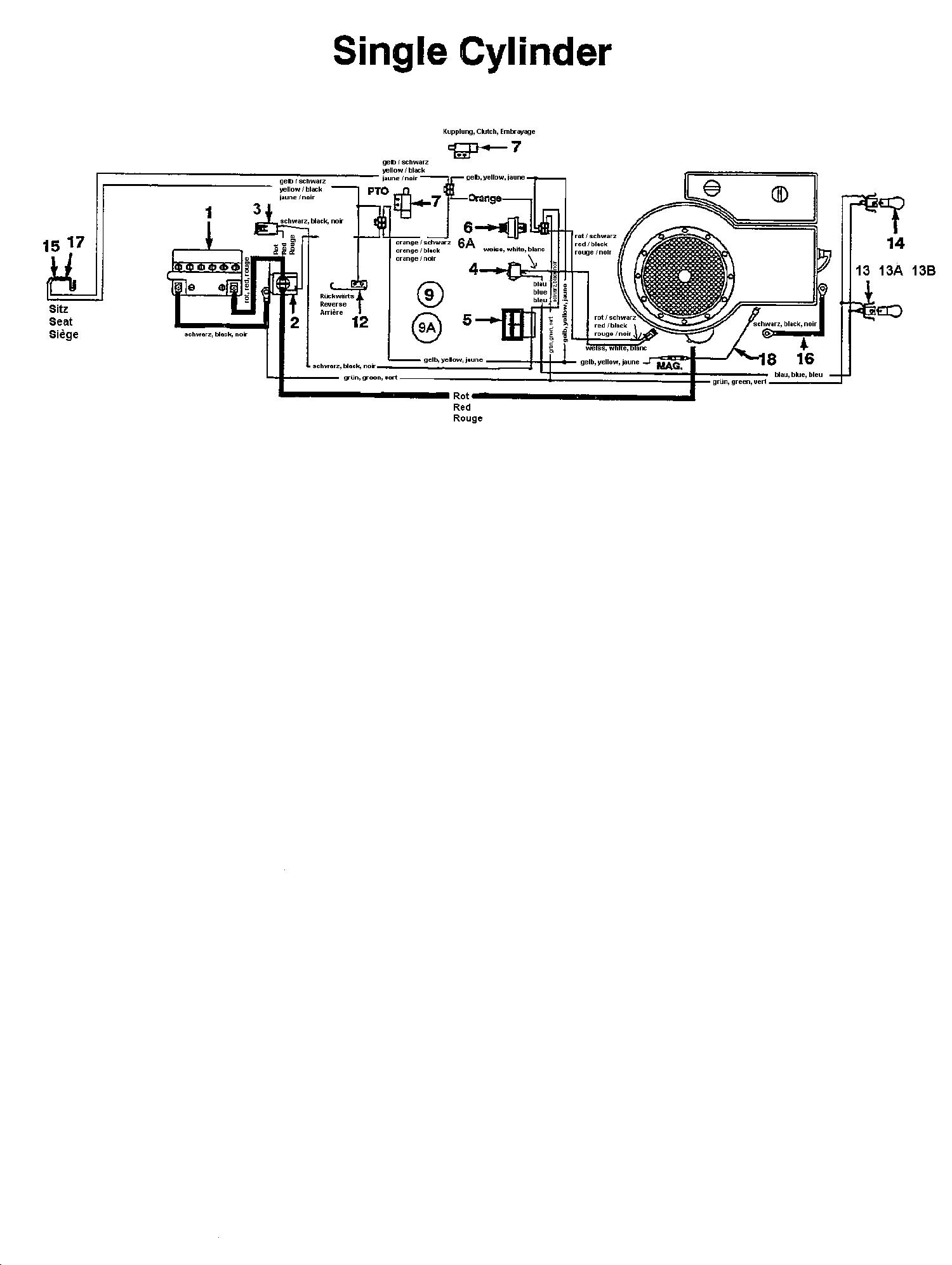 MTD 12.5/76 Schaltplan Einzylinder 134K675C678 (1994)
