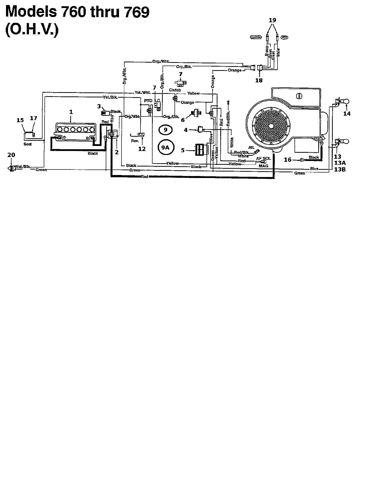 MTD 125/102 Schaltplan für O.H.V. 135K761N602 (1995)