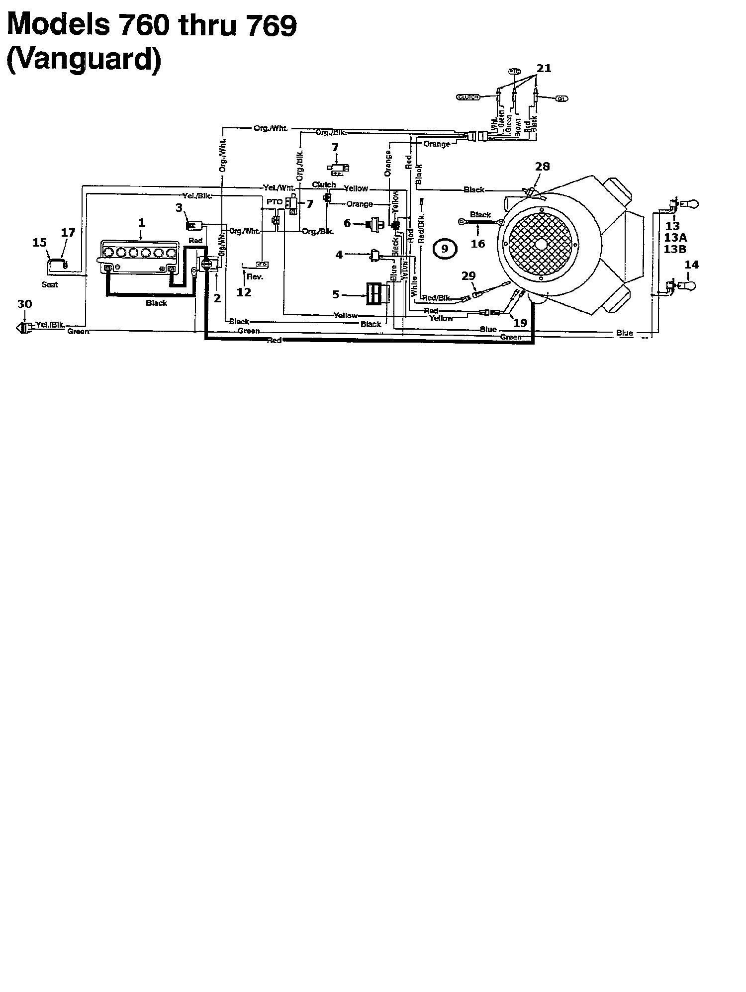 MTD 125/102 Schaltplan Vanguard 134K765N678 (1994)