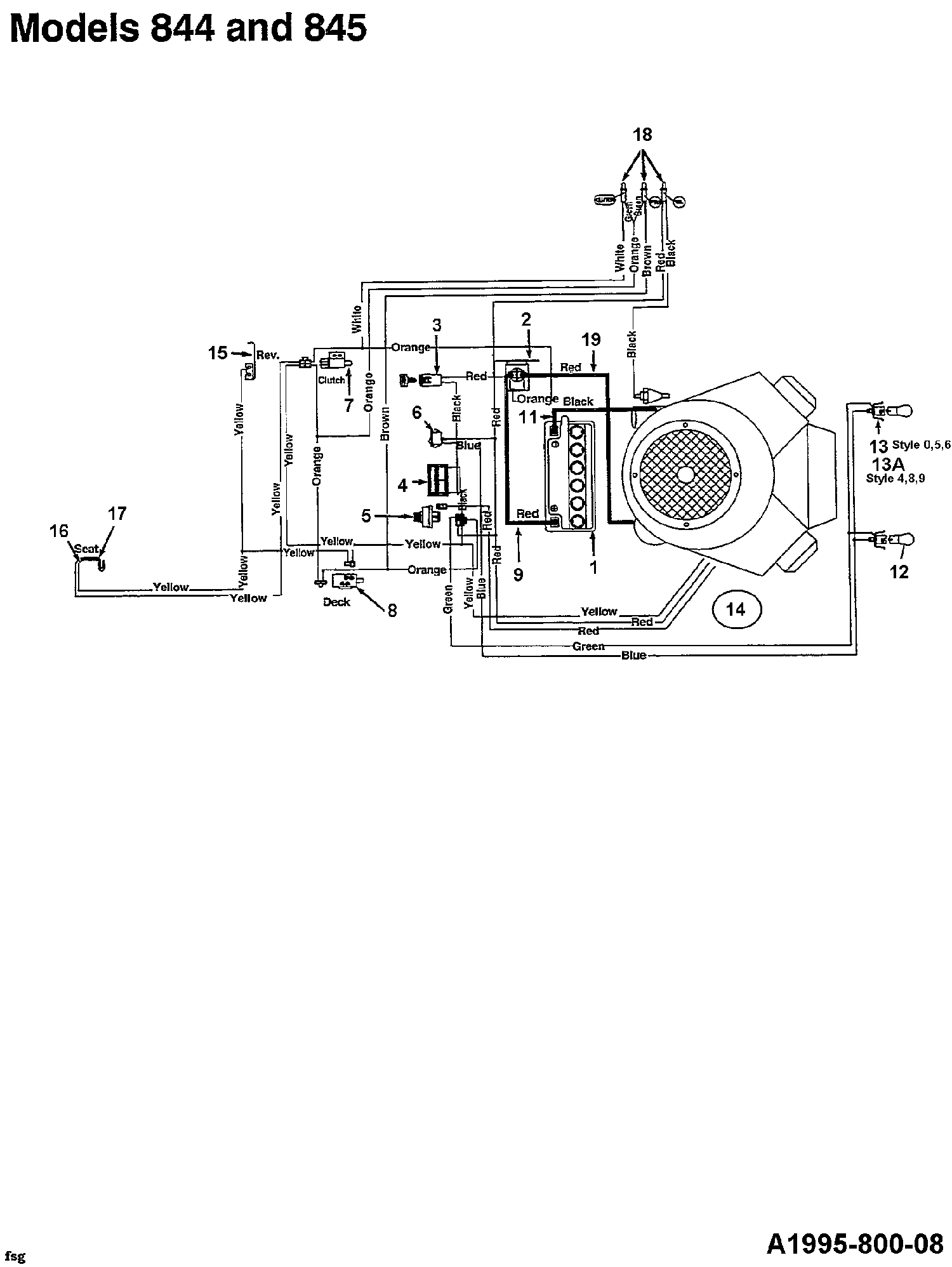 MTD U 845 H Schaltplan 144U845H678 (1994)