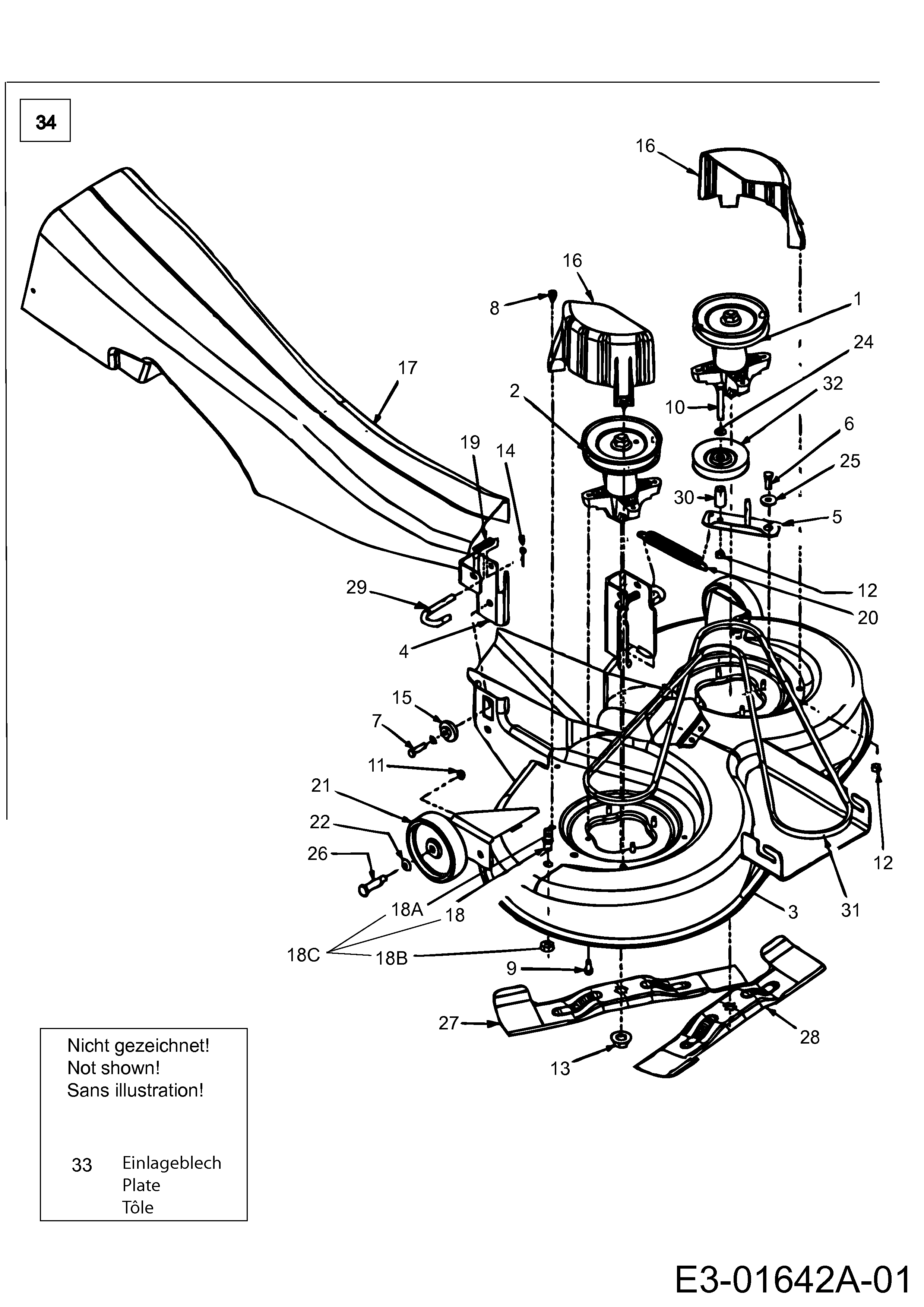 Messersatz passend Gutbrod GLX 92 RH 13ED51GE490 Heckauswurf Rasentraktor