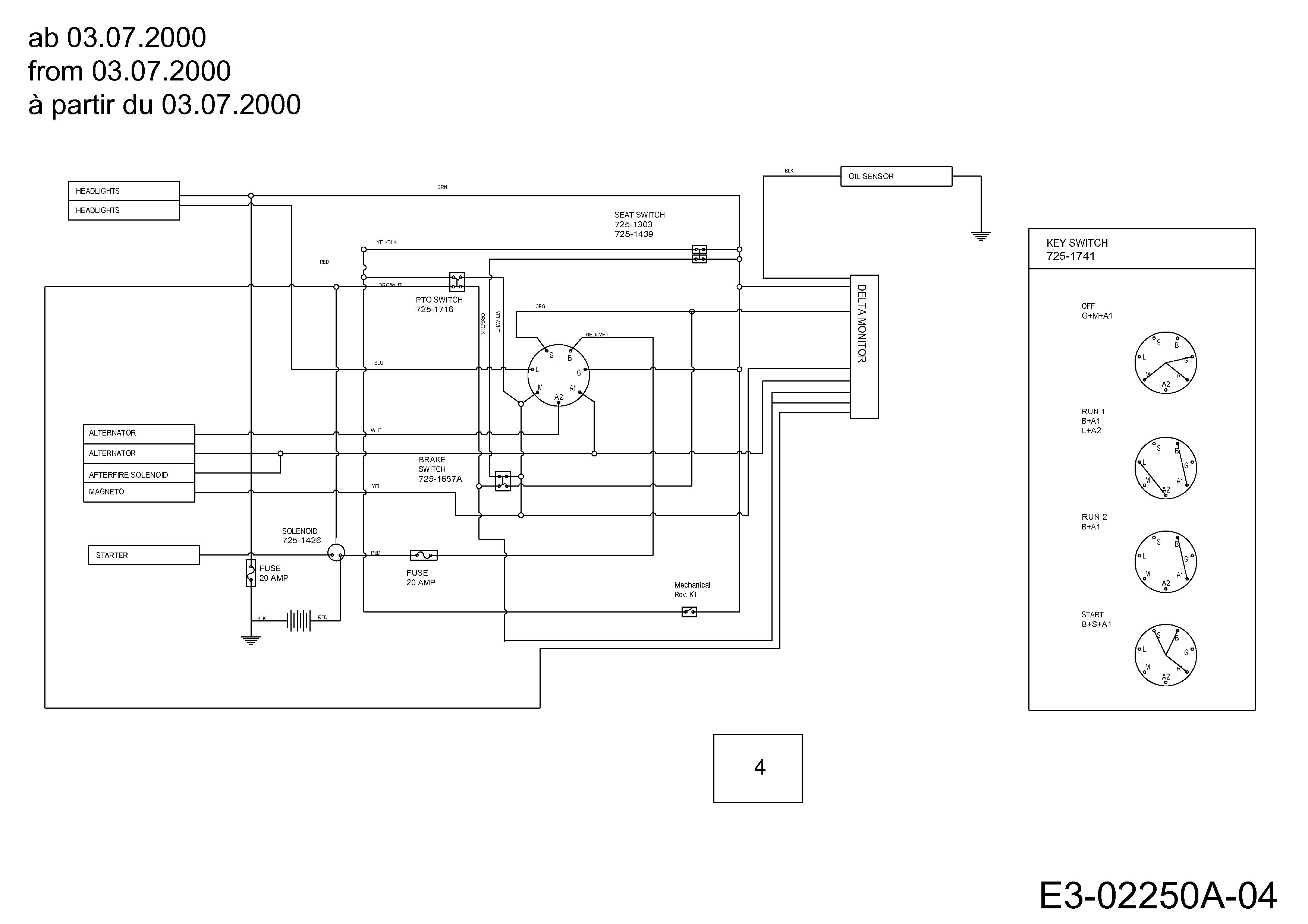 Yard-Man AH 6180 Schaltplan ab 03.07.2000 13AT604H643 (2001)