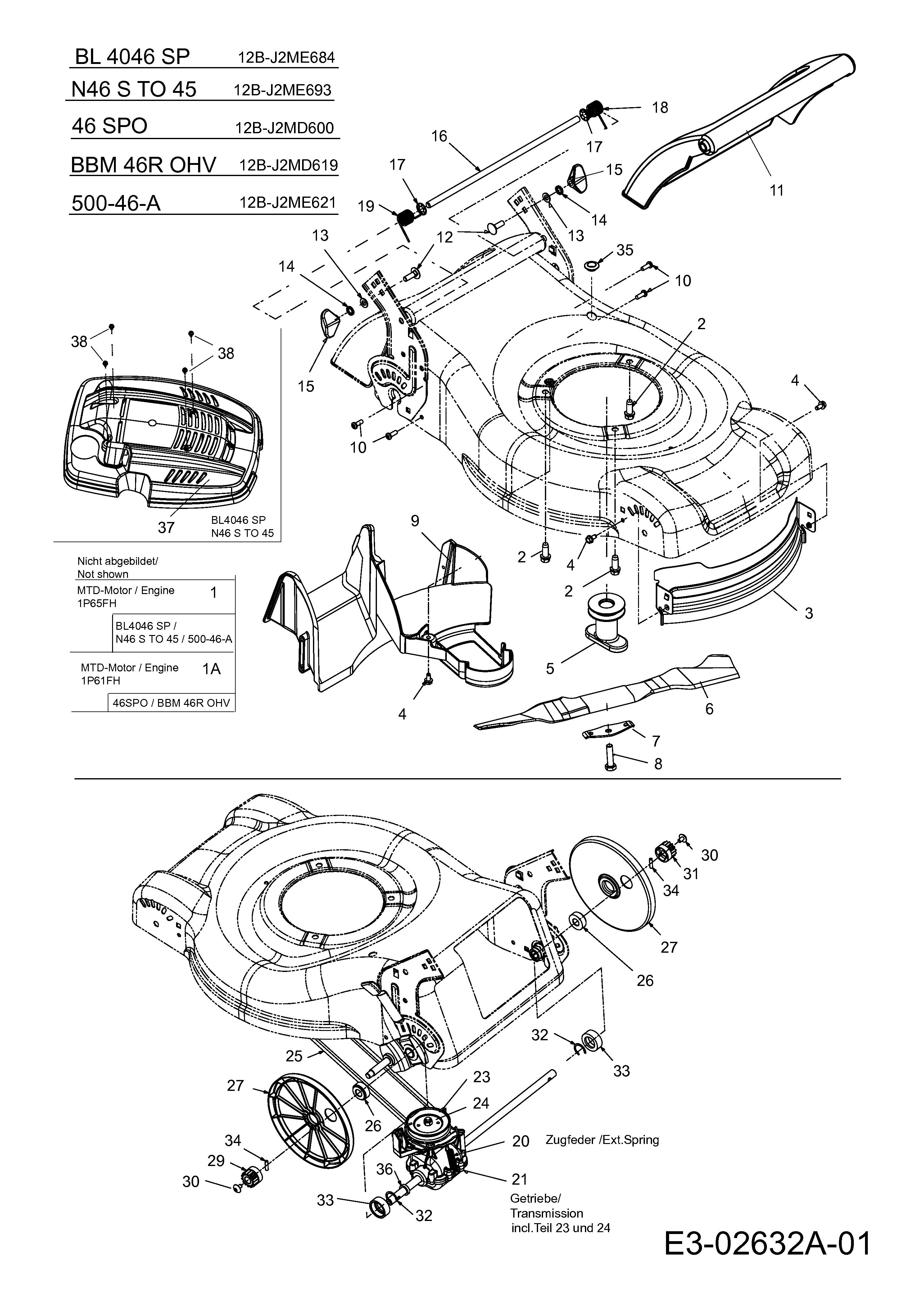 Seilzugstarter für Budget BBM 46 OHV BBM46OHV Rasenmäher