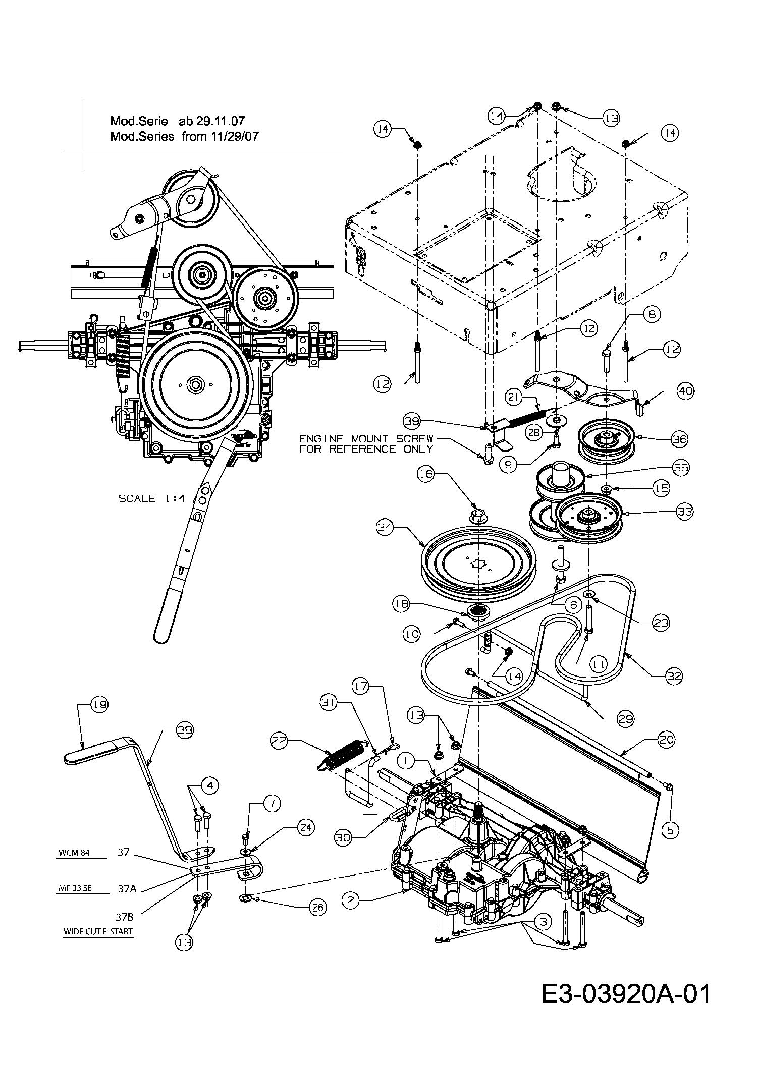 mtd wcm 84 getriebe  motorkeilriemenscheibe 12a