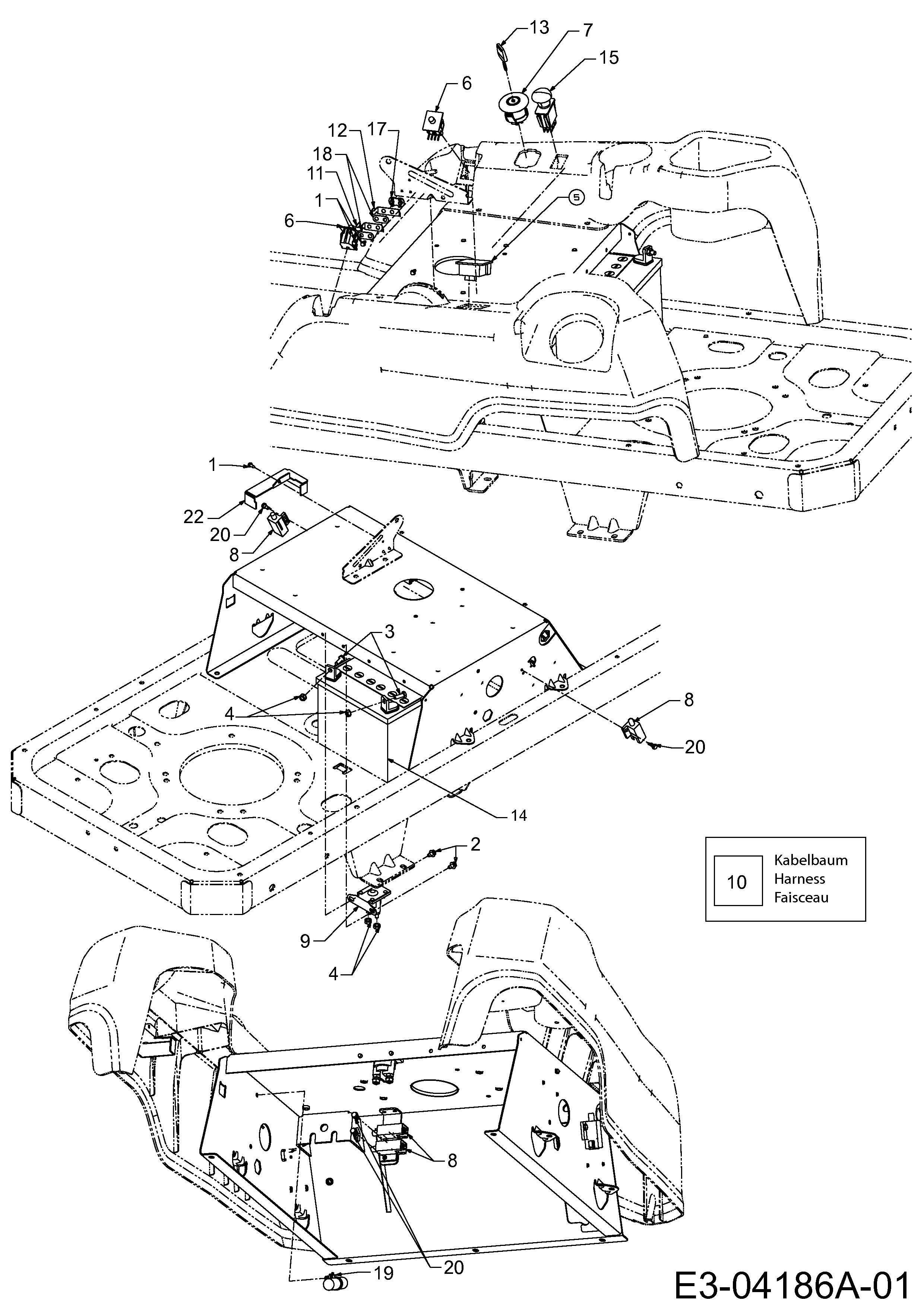 Cub Cadet RZT 50 Elektroteile, Schaltplan 17AI2ACP603 (2008)