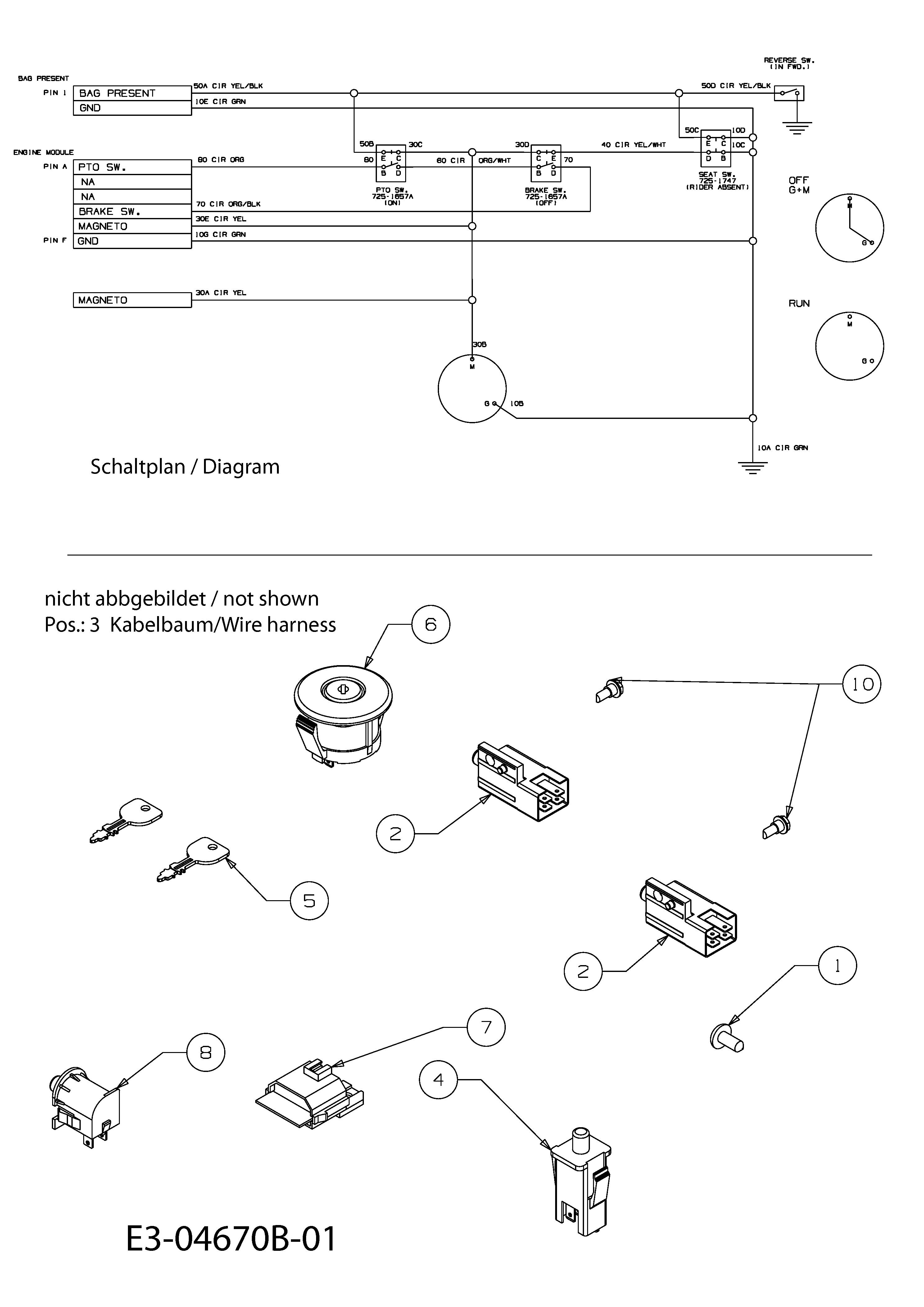 MTD Minirider 60 Elektroteile, Schaltplan 13C3054-400 (2010)