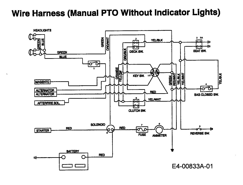 MTD EH/130 Schaltplan ohne Kontrolleuchten 13AA795N678 (1997)